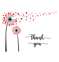 dandelion with flying hearts thank you card vector image
