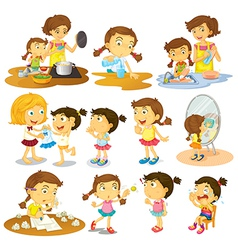 Different actions of a young girl vector image vector image