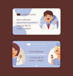 Doctor workers from department pediatrics set vector