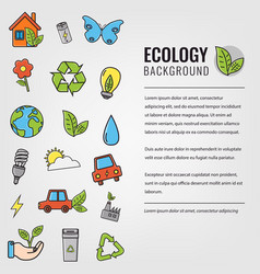 Ecology and environment background ecology icons vector