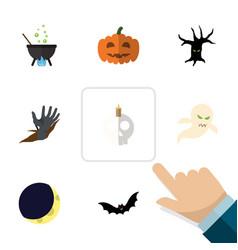 flat icon halloween set of magic zombie crescent vector image