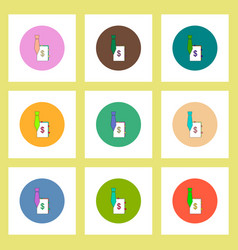 Flat icons set of tie and dollar sign concept on vector