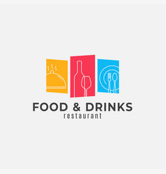 food and drinks logo wine bottle glass with plate vector image