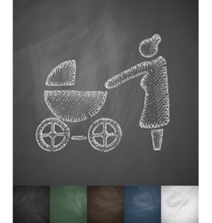 grandmother with stroller icon Hand drawn vector image