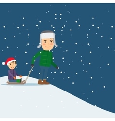 Happy winter time Dad and son sledding vector