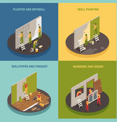 home renovation isometric concept vector image