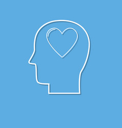 human head with heart icon love symbol cut from vector image
