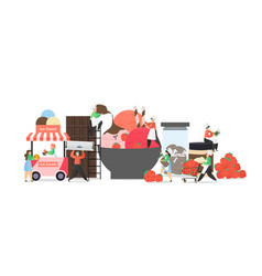 ice cream business composition flat vector image