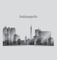 Indianapolis city skyline silhouette in grayscale vector