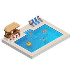 Isometric aqua park with bar water pool people vector