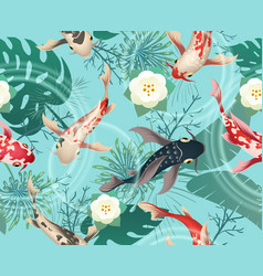japanese koi fishes tropical pattern vector image