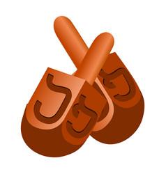 jewish dreidel icon cartoon style vector image