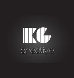Kg k g letter logo design with white and black vector