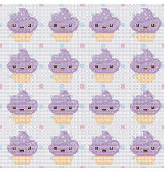 Knitted seamless pattern with cupcakes on white vector