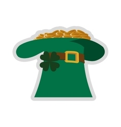 Leprechaun hat with gold coins icon vector