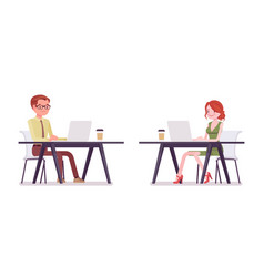 male female clerk working with laptop vector image