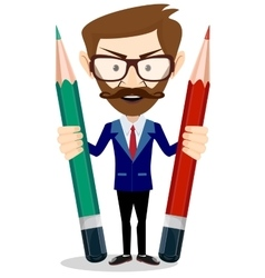 Man-Teacher with a pencils vector image