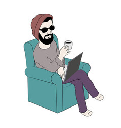 man using laptop while having coffee on sofa vector image