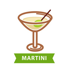 Martini drink isolated on white flat vector