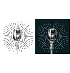microphone with ray vintage black vector image