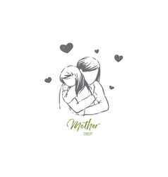 mom hugs daughter young woman and little girl vector image