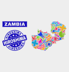Mosaic technology zambia map and grunge hiroshima vector