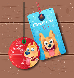 New year sale tags set with dog holiday discount vector