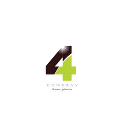 Number 4 in green and brown color for logo icon vector