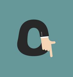 O letter businessman hand font it shows finger vector