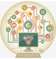 Online communication in social media a computer vector