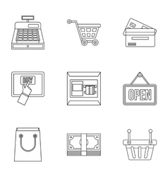 Online purchase icons set outline style vector