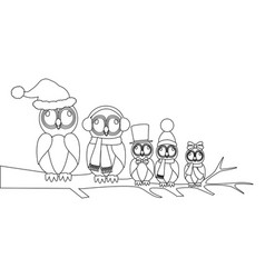 owls family on branch coloring page vector image
