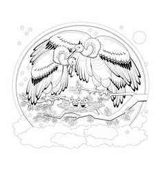 Page for coloring book black and white family vector