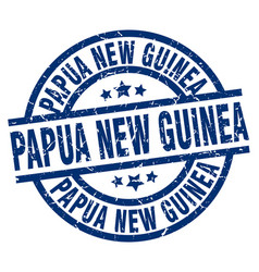 Papua new guinea blue round grunge stamp vector