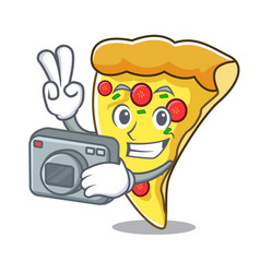 Photographer pizza slice mascot cartoon vector