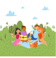 picnic outdoor in nature or park weekend with vector image