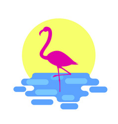 Pink flamingo standing in the sea with sunset on vector