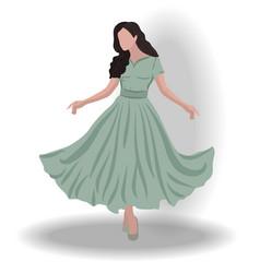 Playful brunette woman in pistachio colored dress vector