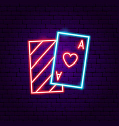 playing card ace neon sign vector image