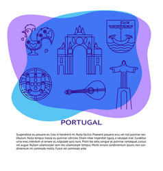 portugal banner or poster template with icons in vector image