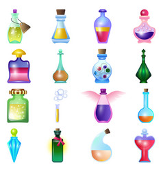 Potion icons set cartoon style vector