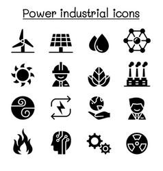 Power energy industrial icon set vector