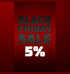 Red ribbon with black friday sale five percent vector