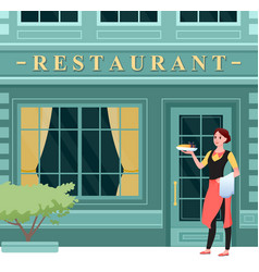 restaurant city facade happy waitress in apron vector image