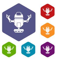 Robot on wheels icons set hexagon vector