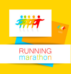 running marathon template design vector image