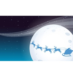 Santa travelling with his reindeers vector image