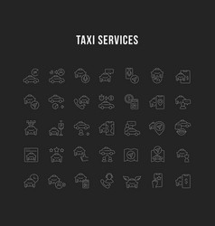 set linear icons taxi services vector image