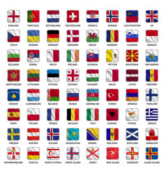 set of all europe flags with name vector image