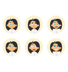 set of business woman emotions facial expression vector image